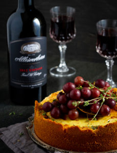 Allesverloren-Gorgonzola-Baked-Cheesecake-with-Roasted-Grapes-and-Thyme-with-Fine-Old-Vintage-1-229x300